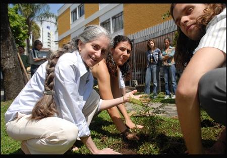 Professora de Vedanta Glória Arieira, participando da Jardinagem Libertária em Curitiba